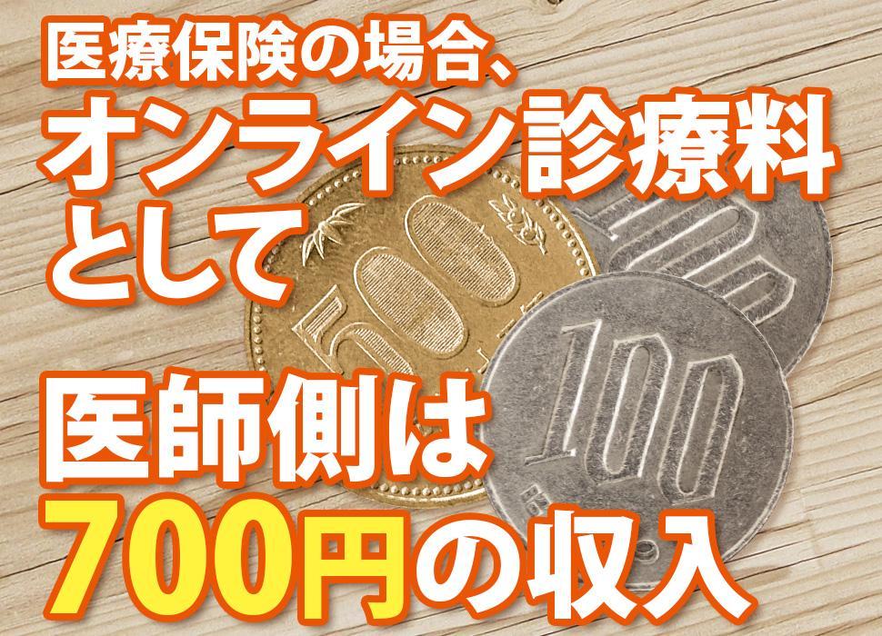 医療保険の場合、オンライン診療料として、医師側は700円の収入