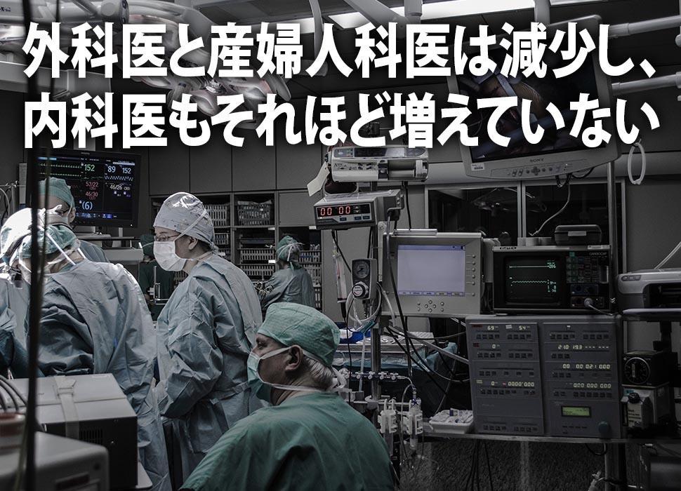 外科医と産婦人科医は減少し、内科医もそれほど増えていない